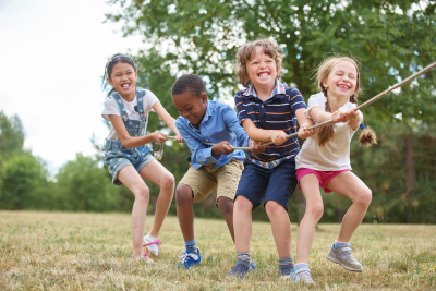 happy group of kids playing together